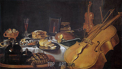 Still Life with Musical Instruments, 1623 | Pieter Claesz| Painting Reproduction