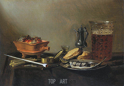 Still Life with Pipe, 1647 | Pieter Claesz | Painting Reproduction