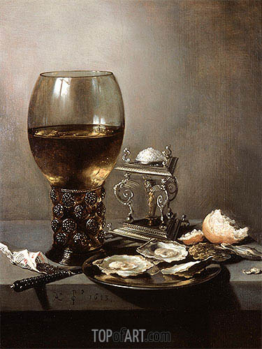 Still Life with Oysters, 1643 | Pieter Claesz| Painting Reproduction