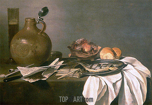 Still Life with Alcohol, Tobacco, Fish and Fire, 1644 | Pieter Claesz | Gemälde Reproduktion