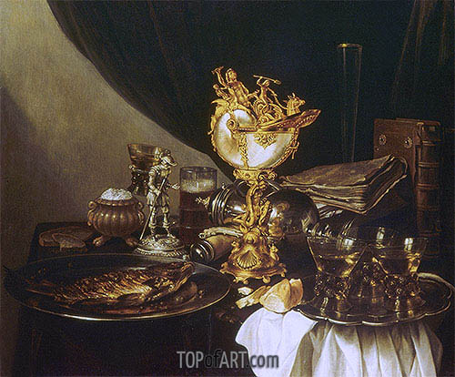 Still Life with a Nautilus Cup, 1645 | Pieter Claesz| Painting Reproduction