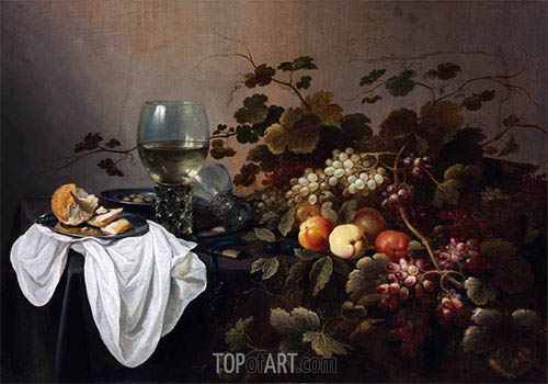 Pieter Claesz | Still Life with Fruit and Roemer, 1644