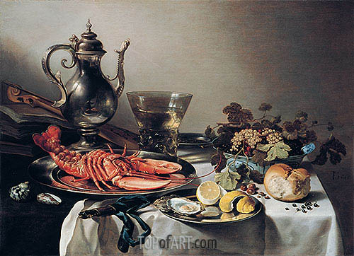 Pieter Claesz | Table with Lobster, Silver Jug, Fruit Bowl, Violin and Books, 1641