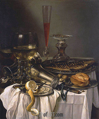 Pieter Claesz | Breakfast with Fish, 1653