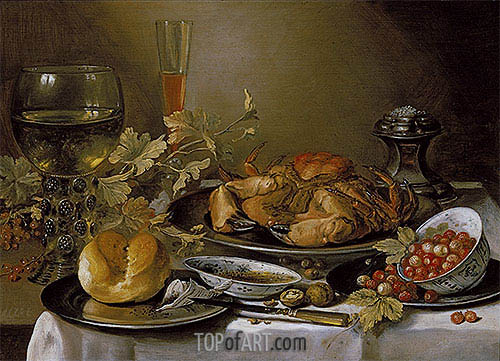 Still Life with Crab, 1657 | Pieter Claesz| Painting Reproduction