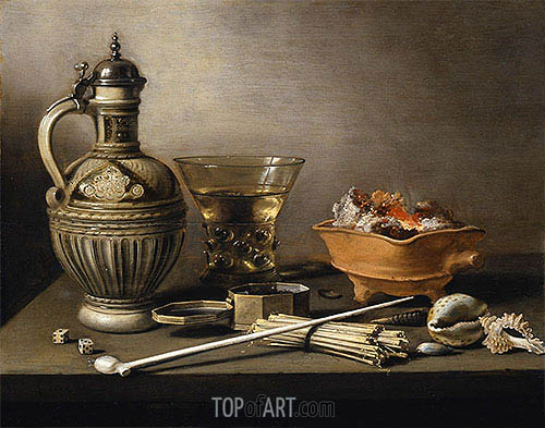 Still Life with a Stoneware Jug, Berkemeyer and Smoking Utensils, 1640 | Pieter Claesz | Gemälde Reproduktion