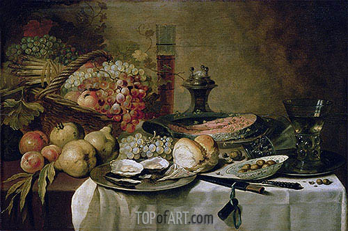 Still Life with Salmon, c.1651 | Pieter Claesz| Painting Reproduction