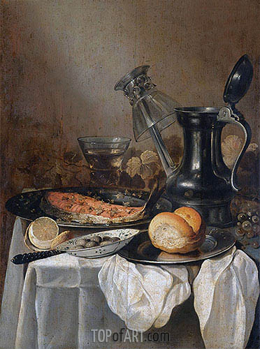 Pieter Claesz | Still Life with a Pewter Flagon, Upturned Wineglass and Slice of Salmon, 1650