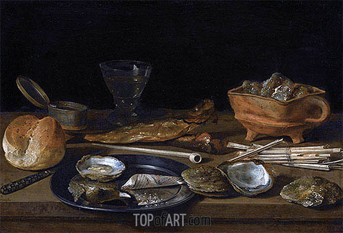 Still Life With a Brazier, Wine-Glass and a Bread Roll, 1624 | Pieter Claesz | Painting Reproduction