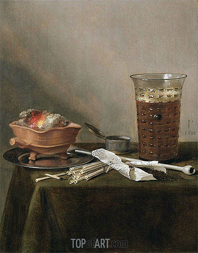 Still Life with a Brazier, a Glass of Beer and a Clay Pipe, 1642 | Pieter Claesz | Painting Reproduction