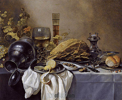 A Still Life with an Overturned Pewter Jug, a Roemer and a Blue Lined Beer Glass, undated | Pieter Claesz | Painting Reproduction