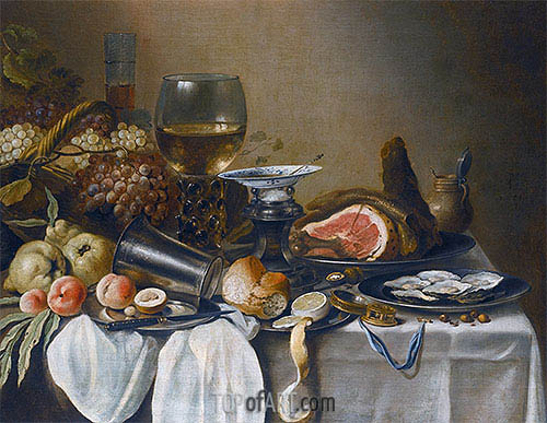 Pieter Claesz | Still Life with a Ham, Fruits, Oysters and Bread, 1651