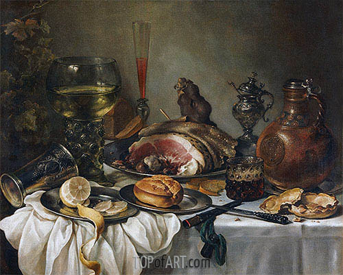 Still Life with a Roemer, Earthenware Jug, Overturned Silver Beaker and a Ham, undated | Pieter Claesz| Painting Reproduction