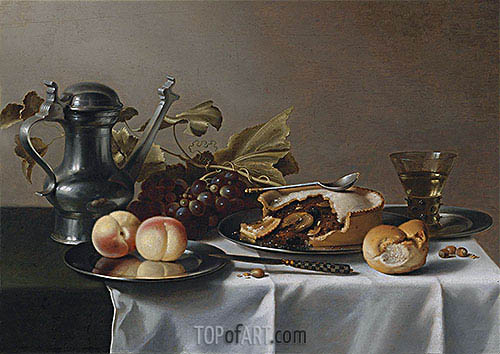 Still Life with Grapes, Pie, Peaches, Pewter Ewer and a Roemer, undated | Pieter Claesz| Painting Reproduction