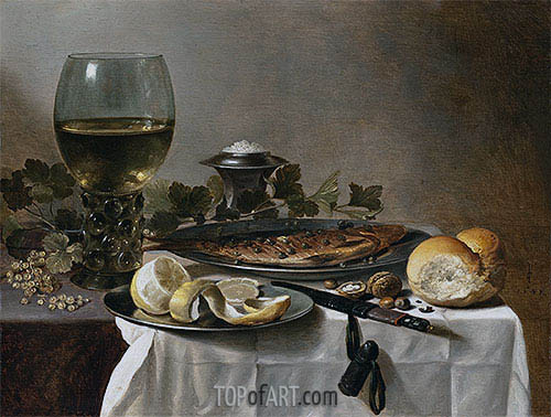 Still Life with Herring, Wine and Bread, 1647 | Pieter Claesz| Painting Reproduction