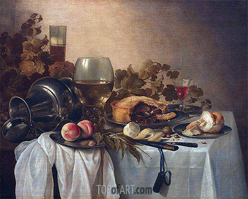 Still Life with Roemer and Pie, undated | Pieter Claesz| Painting Reproduction