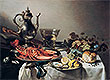 Table with Lobster, Silver Jug, Fruit Bowl, Violin and Books | Pieter Claesz