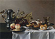 Still Life with Grapes, Pie, Peaches, Pewter Ewer and a Roemer | Pieter Claesz