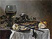 Still Life with Herring, Wine and Bread | Pieter Claesz