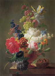 Flowers in a Marble Urn with a Bird's Nest upon a Ledge, 1793 by Pieter Faes | Painting Reproduction