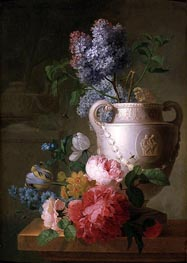 A Marble Vase of Lilac with other Flowers on a Marble Shelf, Undated by Pieter Faes | Painting Reproduction