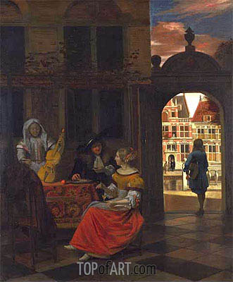 A Musical Party in a Courtyard, 1677 | Pieter de Hooch | Gemälde Reproduktion