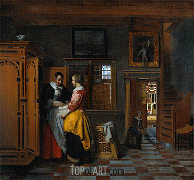 The Linen Chest, 1663 | Pieter de Hooch | Gemälde Reproduktion