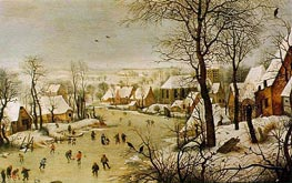 Winter Landscape with Skaters and Bird Trap | Bruegel the Elder | Gemälde Reproduktion