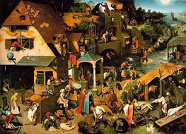 Netherlandish Proverbs, 1559 by Bruegel the Elder | Painting Reproduction