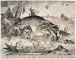 The Large Fishes Devouring the Small Fishes, 1557 by Bruegel the Elder | Painting Reproduction
