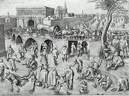 Skaters by St. George's Gate, Antwerp, 1553 by Bruegel the Elder | Painting Reproduction