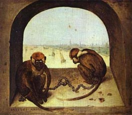 Two Monkeys, 1562 by Bruegel the Elder | Painting Reproduction