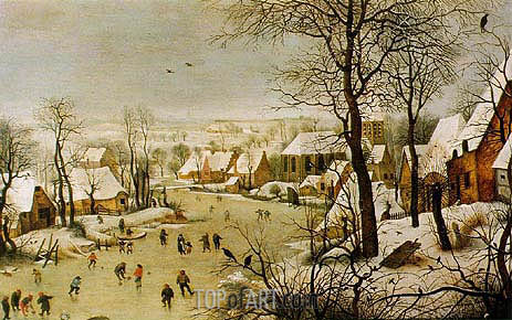 Winter Landscape with Skaters and Bird Trap, 1565 | Bruegel the Elder| Painting Reproduction