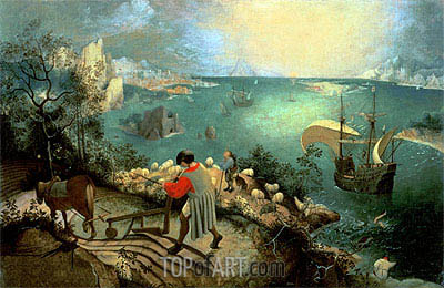 Landscape with the Fall of Icarus, c.1555/58 | Bruegel the Elder | Painting Reproduction