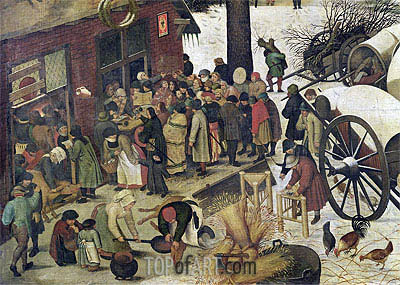 The Census at Bethlehem (Detail), undated | Bruegel the Elder| Painting Reproduction