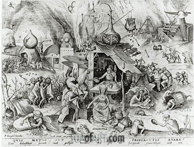 Bruegel the Elder | Avarice, from The Seven Deadly Sins, 1558