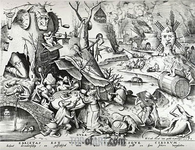 Bruegel the Elder | Gluttony, from The Seven Deadly Sins, 1558