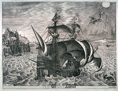 A Man-of-War near the Coast, with the Fall of Icarus,  | Bruegel the Elder| Painting Reproduction
