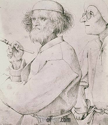 The Painter and the Art Lover, c.1565 | Bruegel the Elder| Gemälde Reproduktion