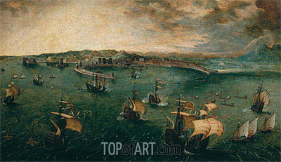 Naval Battle in the Gulf of Naples, c.1563 | Bruegel the Elder| Painting Reproduction