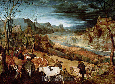 The Return of the Herd (Autumn), 1565 | Bruegel the Elder| Painting Reproduction
