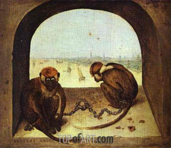 Two Monkeys, 1562 | Bruegel the Elder| Gemälde Reproduktion
