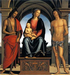 Virgin and Child with Saint John the Baptist and Saint Sebastian, c.1492 von Perugino | Gemälde-Reproduktion