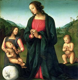 Madonna Adoring the Christ Child (Madonna del Sacco), c.1500 by Perugino | Painting Reproduction