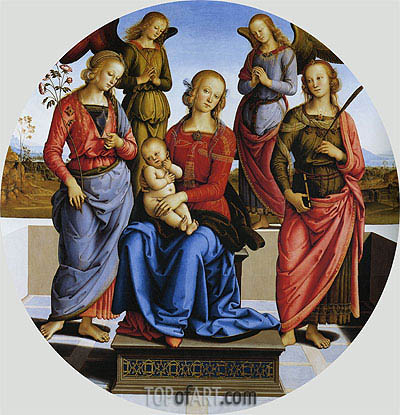 Madonna and Child with St. Rose and Catherine of Alexandra,  | Perugino | Gemälde Reproduktion