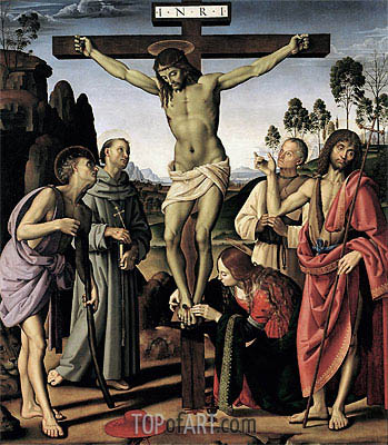 The Crucifixion with Saints Jerome, Francis, Mary Magdalene, John the Baptist and the Blessed Giovanni Colombini, c.1480/00 | Perugino | Painting Reproduction