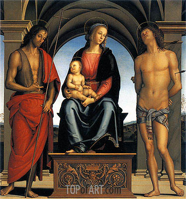Virgin and Child with Saint John the Baptist and Saint Sebastian, c.1492 | Perugino | Painting Reproduction