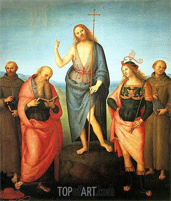 Perugino | Saint John the Baptist with Saint Francis of Assisi, Saint Jerome, Saint Sebastian and Saint Anthony, c.1505/10