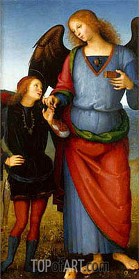 Archangel Raphael with Tobias (Certosa Altarpiece), c.1496/00 | Perugino | Painting Reproduction