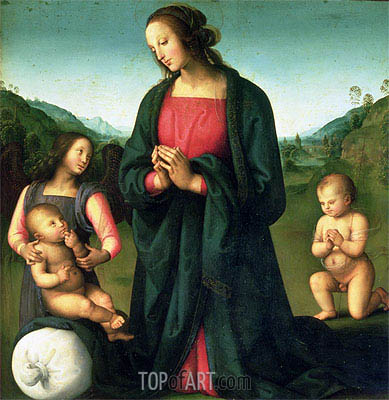 Madonna Adoring the Christ Child (Madonna del Sacco), c.1500 | Perugino | Gemälde Reproduktion
